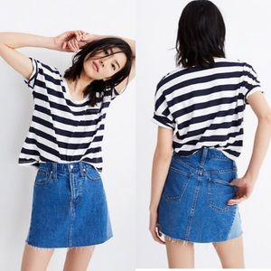 Madewell Denim A-Line Mini Skirt: Pieced Edition
